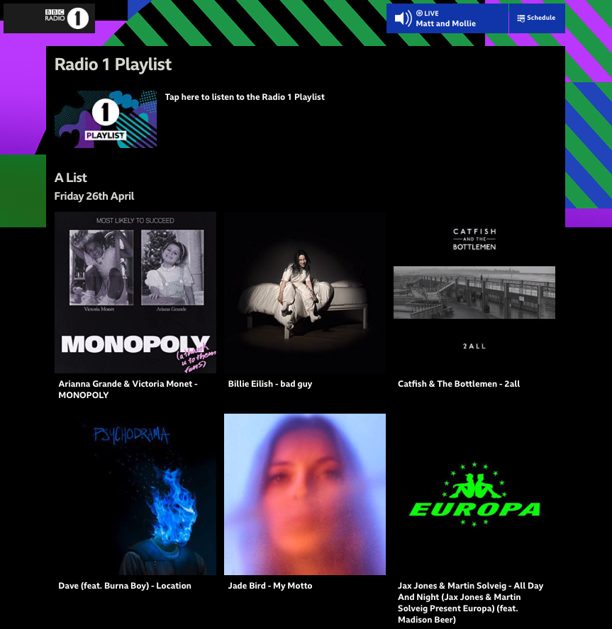 Screen Shot Billie Eilish 2019-04-29 BBC Radio 1 Playlist