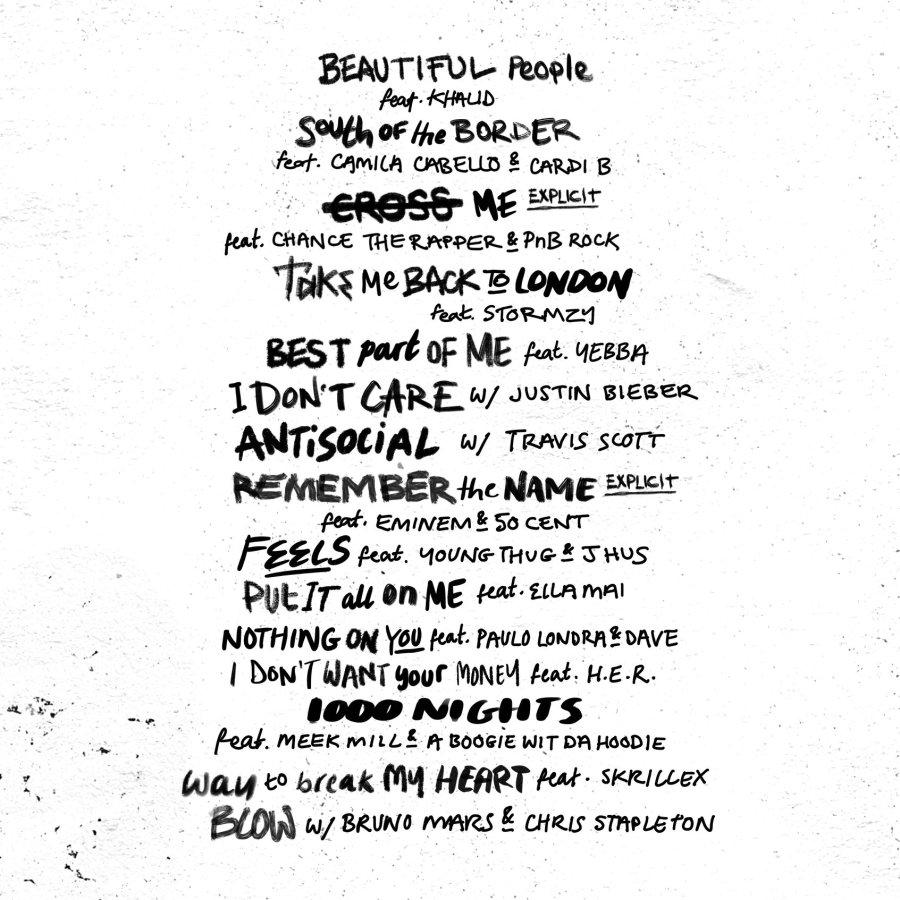 Ed Sheeran No. 6 Collaboration Project Tracklist Facebook 2019 June