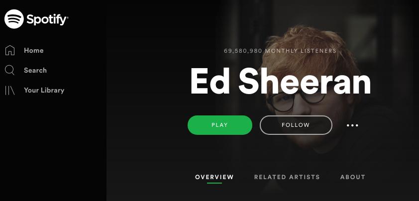 Screen Shot Ed Sheeran Spotify 2019 July
