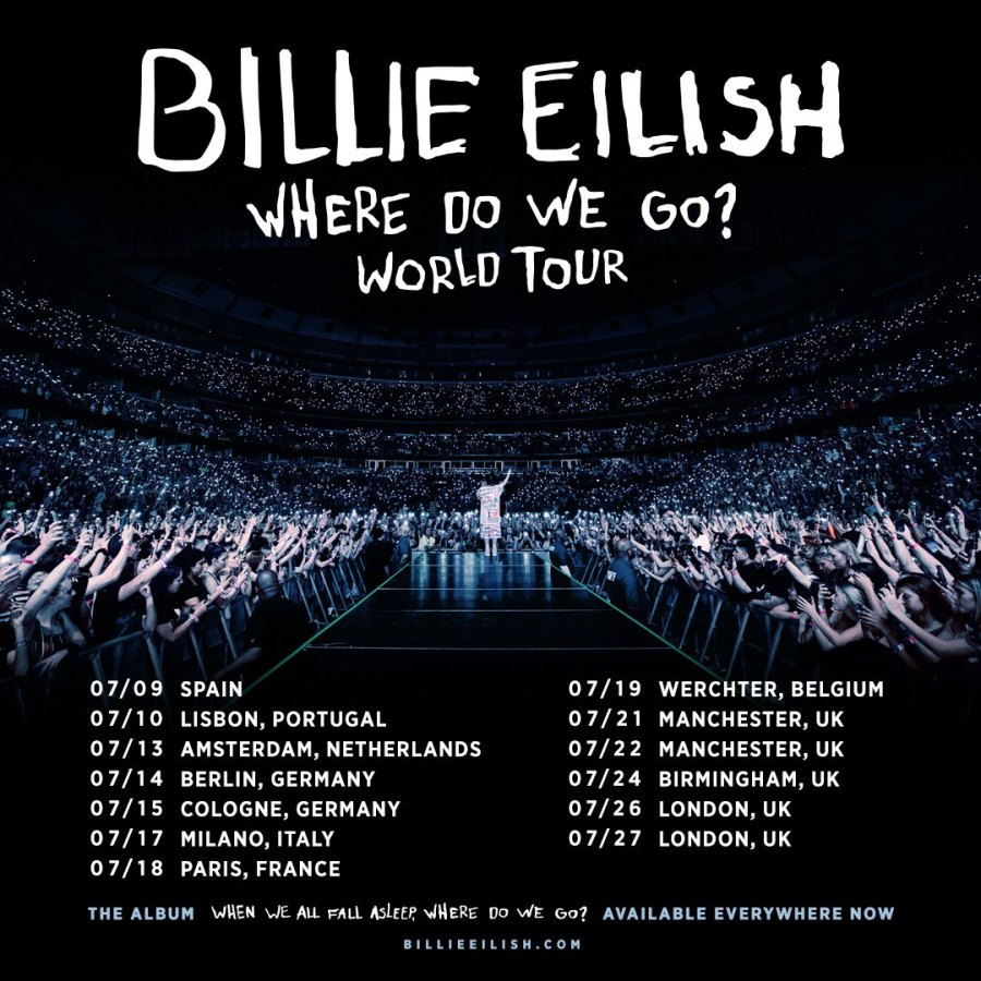 Billie Eilish Where Do We Go? World Tour Facebook 2019-09-27