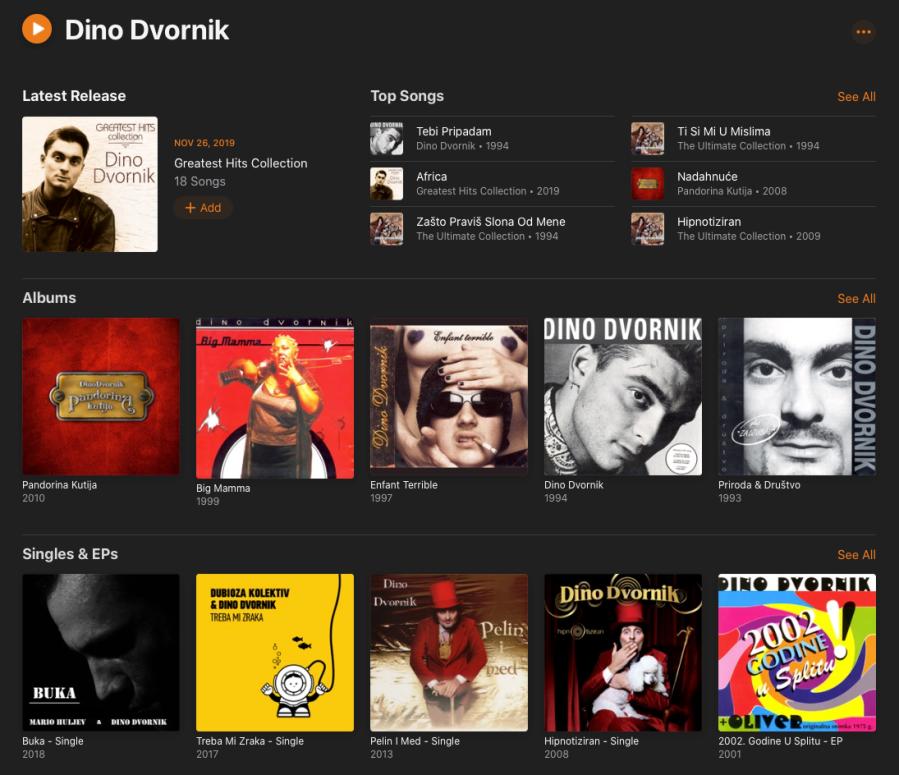 Apple Music Dino Dvornik profile Screen Shot
