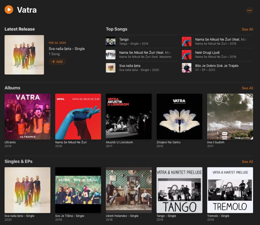 Apple Music Vatra Profil Screen Shot